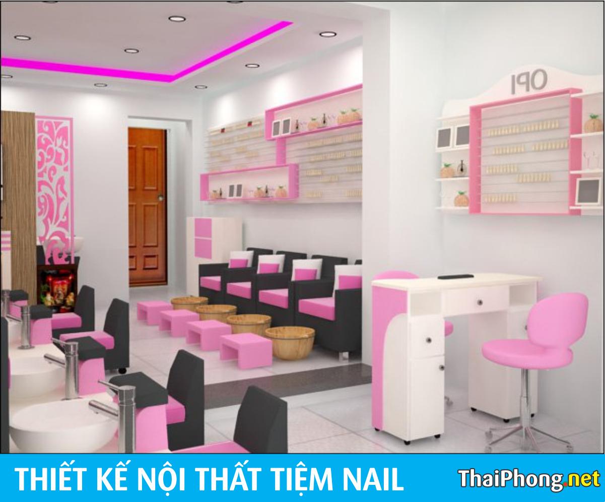 Tiệm làm nail màu hồng