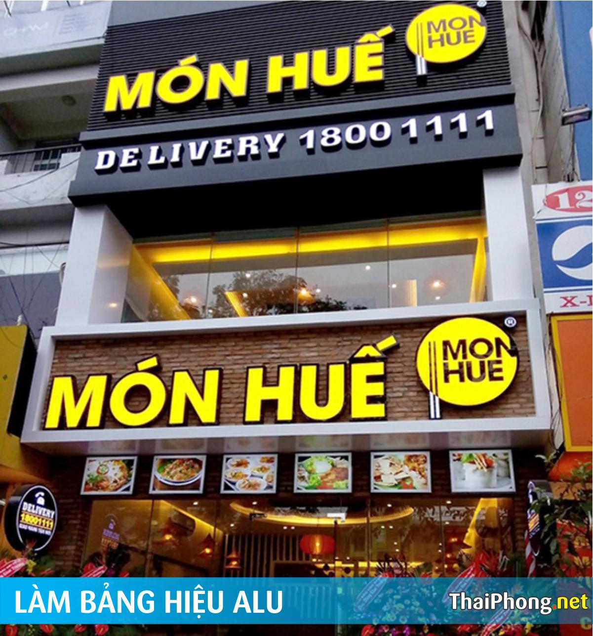 Bảng hiệu alu chữ nổi led quán ăn nhà hàng Món Huế