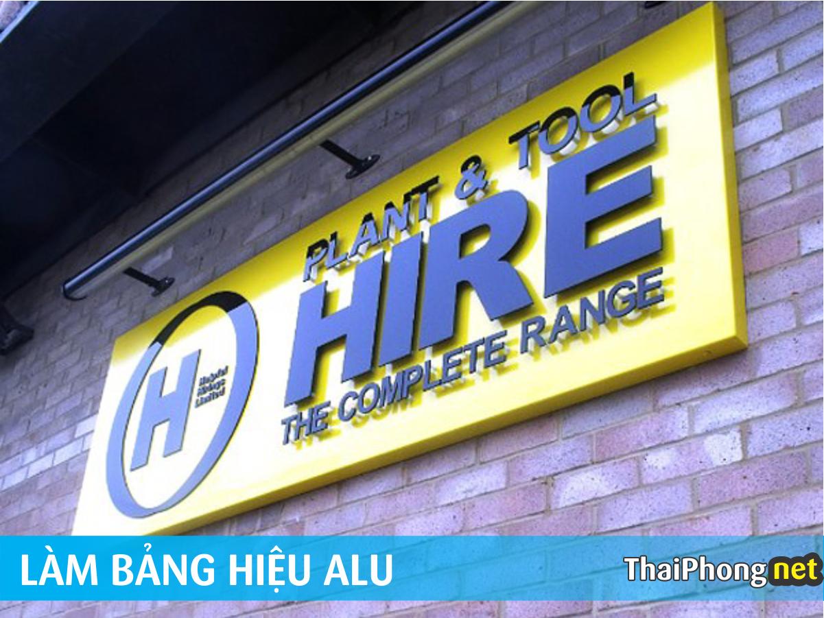 Làm bảng hiệu alu chữ mica nổi cho công ty HIRE